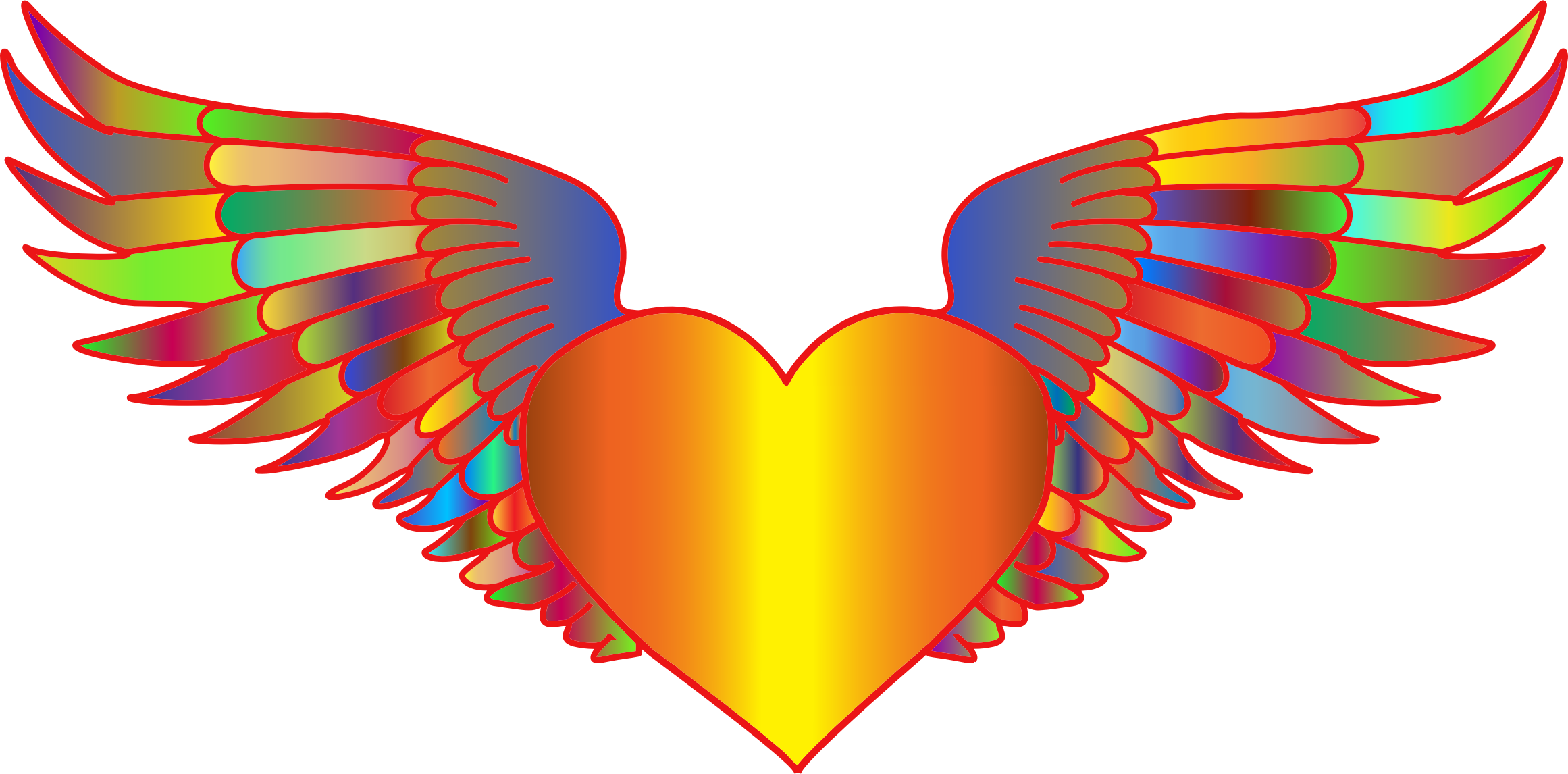 Wing clipart heart. Prismatic flying big image