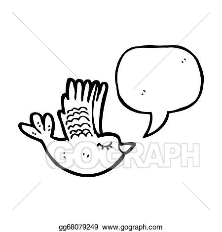 Drawing bird with bubble. Flying clipart part speech