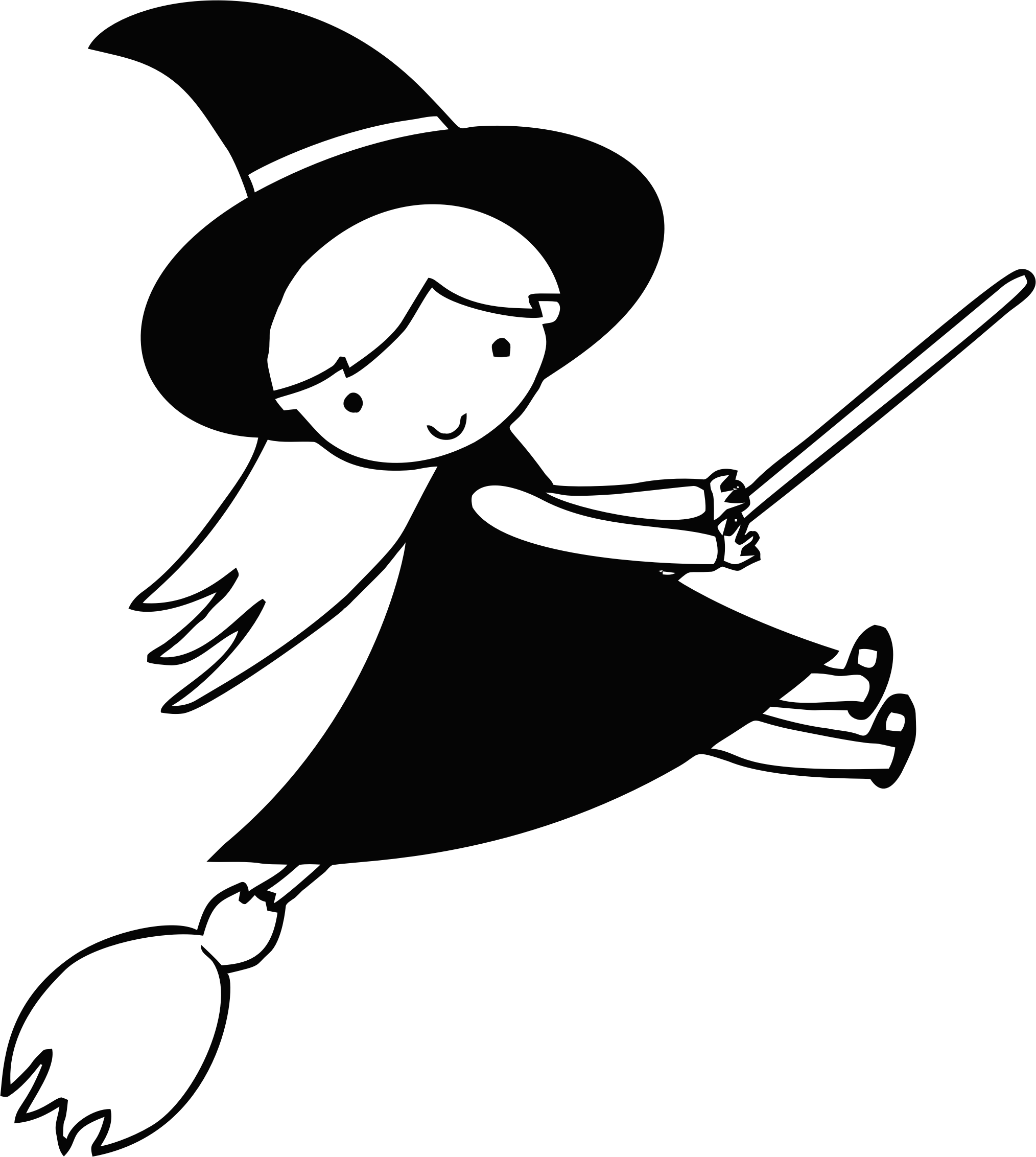 Witch clipart flying witch. Line art big image