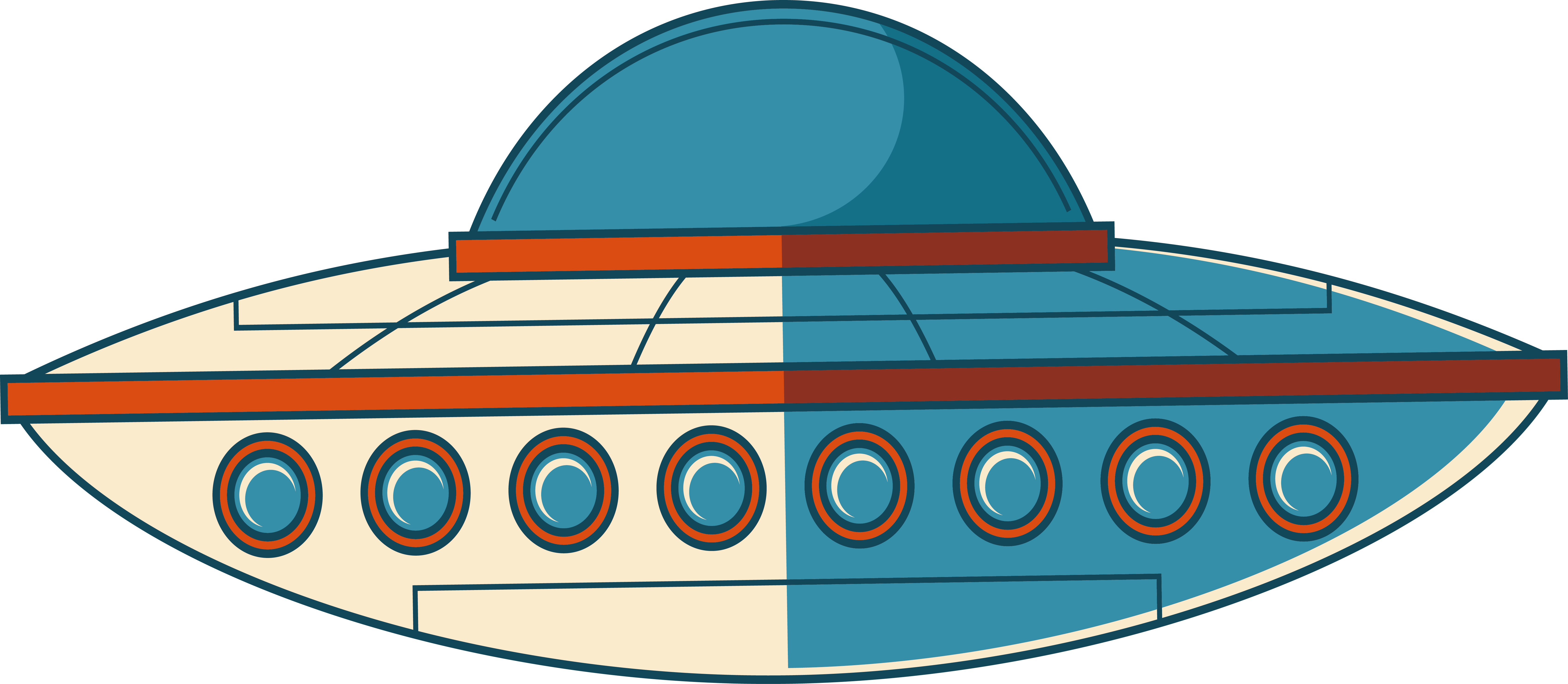 Unidentified flying object saucer. Ufo clipart line art