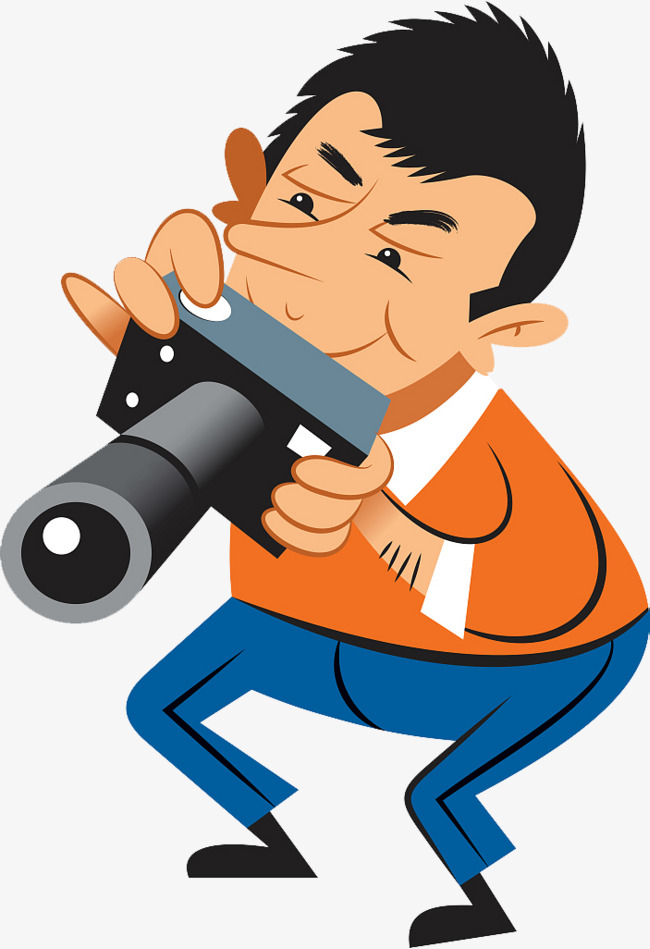 Camera shooting vector characters. Focus clipart