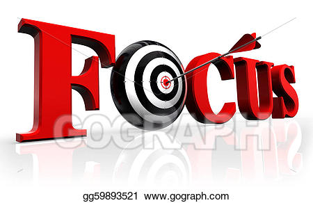 Red word and conceptual. Focus clipart accurate