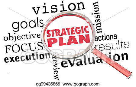Drawing magnifying glass strategy. Plan clipart strategic goal