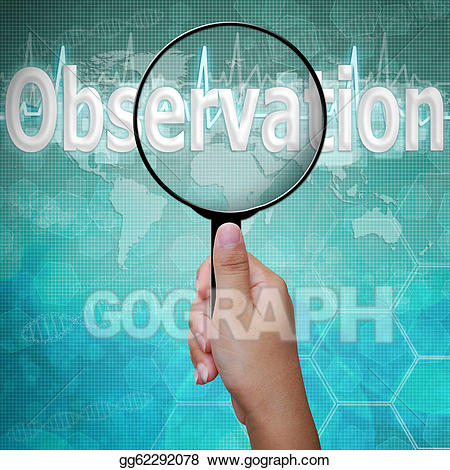 Focus clipart observation. Drawing word in magnifying