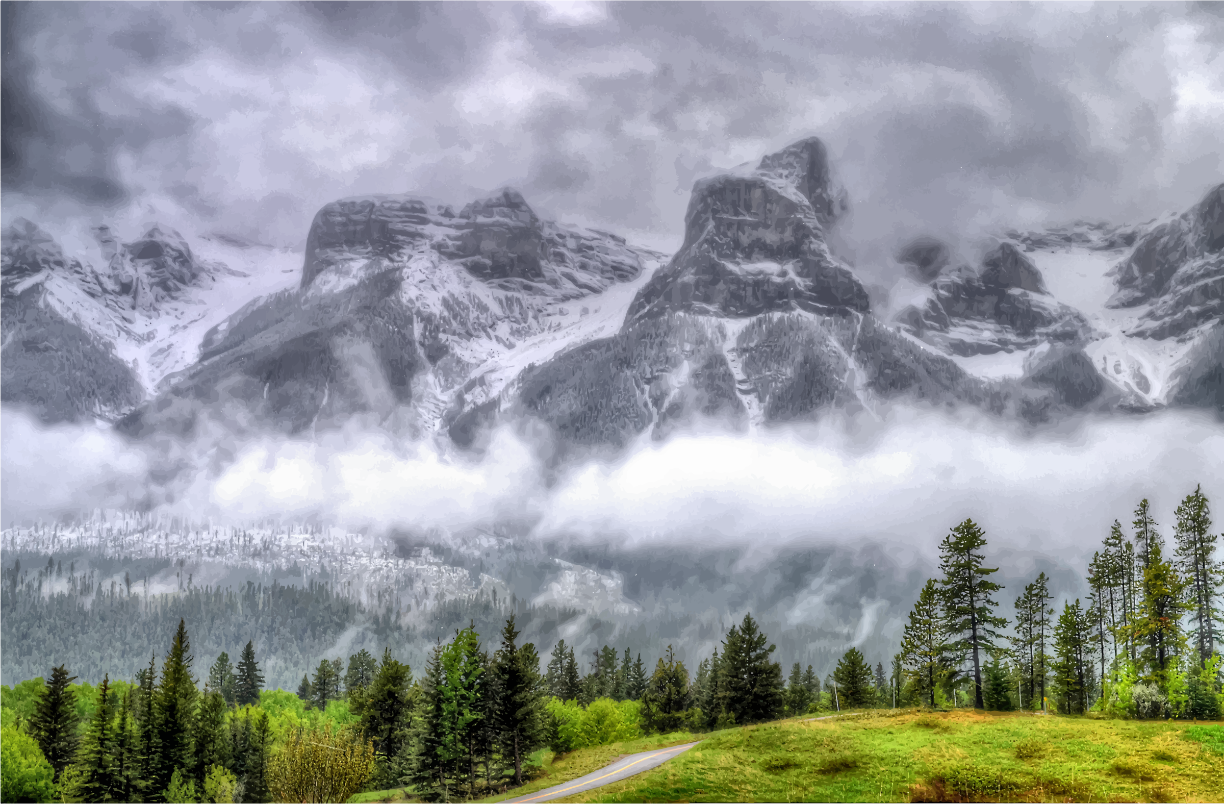 Fog clipart. Enshrouded mountains big image