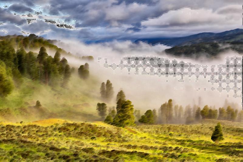 Fog clipart misty. Surreal valley medium image