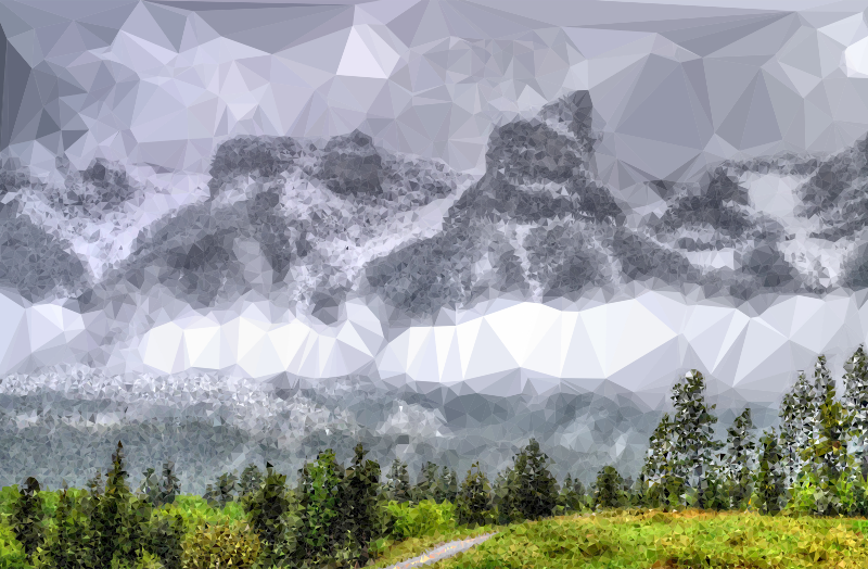 Fog clipart sky. Low poly enshrouded mountains