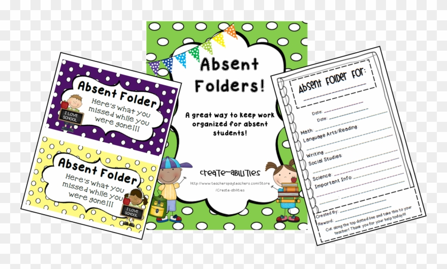 Absence cliparts from school. Folder clipart absent