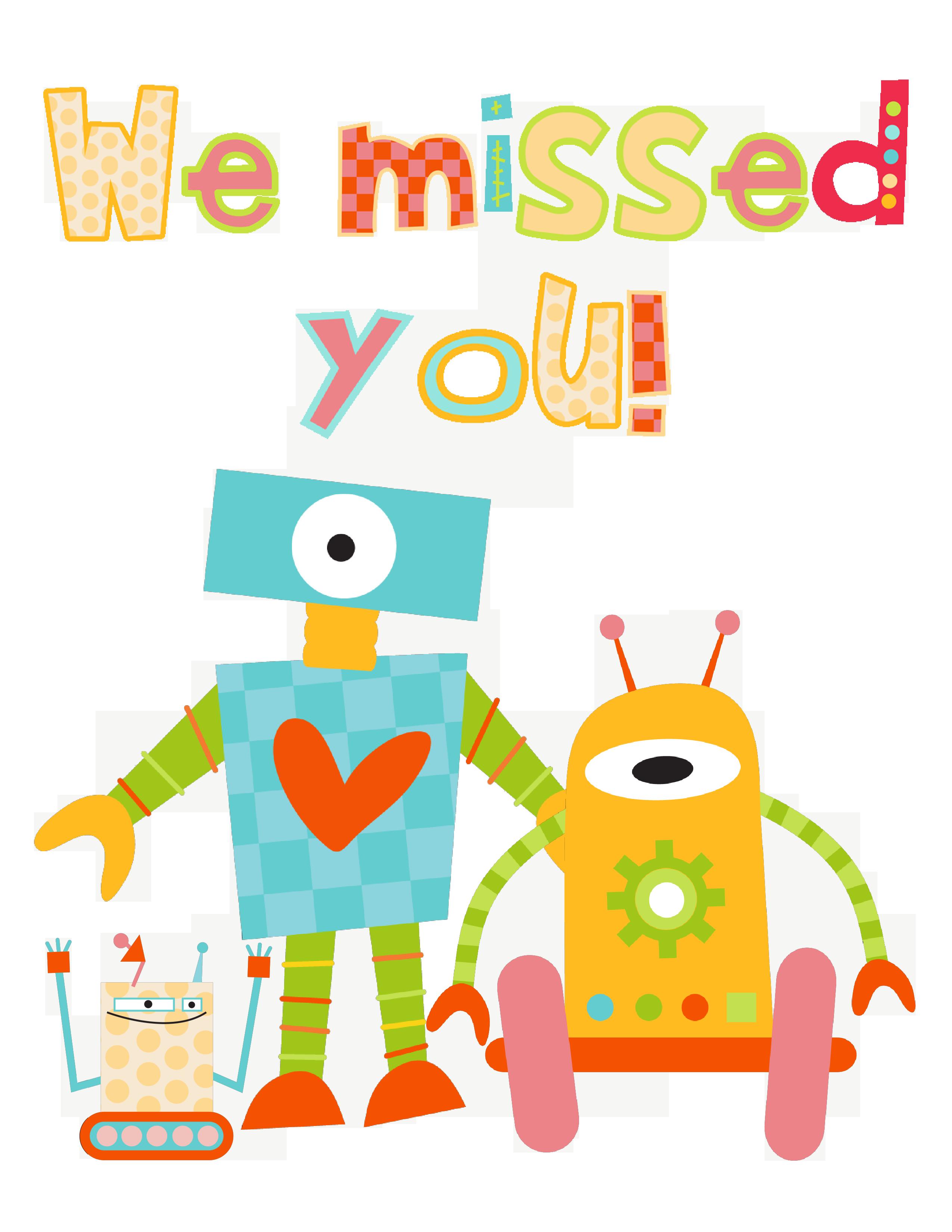 robots dibujos coloridos. Folder clipart absent work