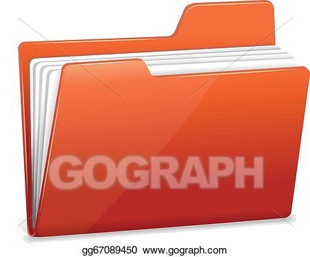Folder clipart document folder. Eps illustration red file