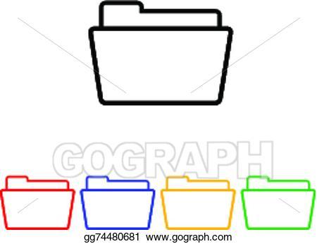 Folder clipart flat. Eps vector simple icon
