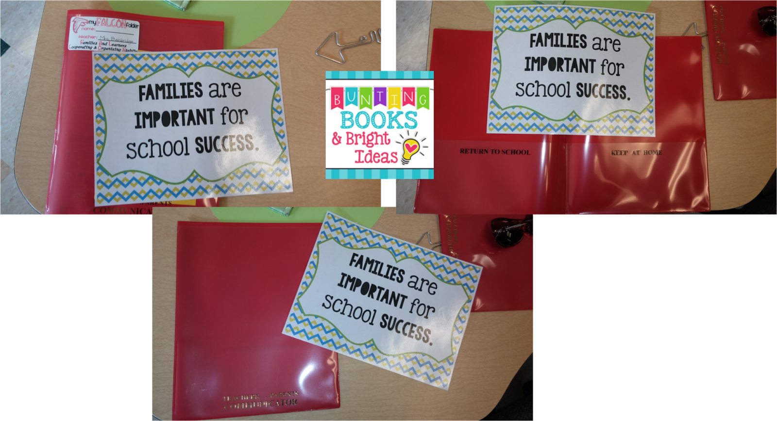 Bunting books and bright. Folder clipart graded work