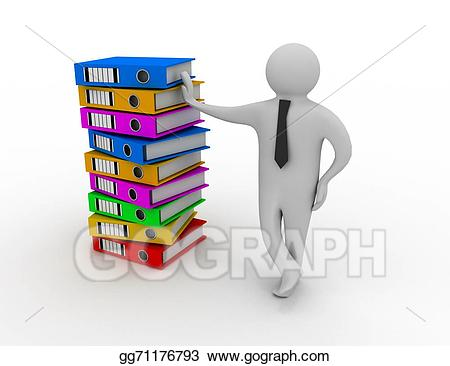 Folder clipart stack folder. Stock illustration d man