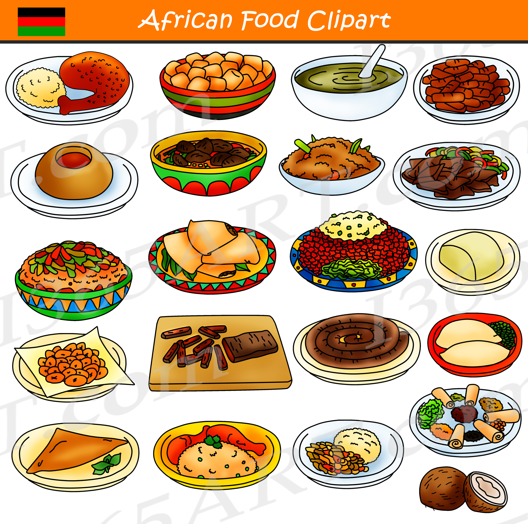 African commercial international school. Food clipart