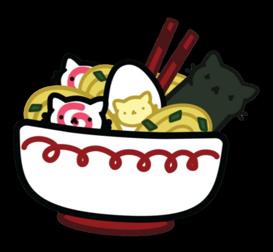 Neko ramen yum cute. Food clipart collage