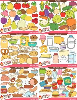 Foods clipart group. Food clip art bundle