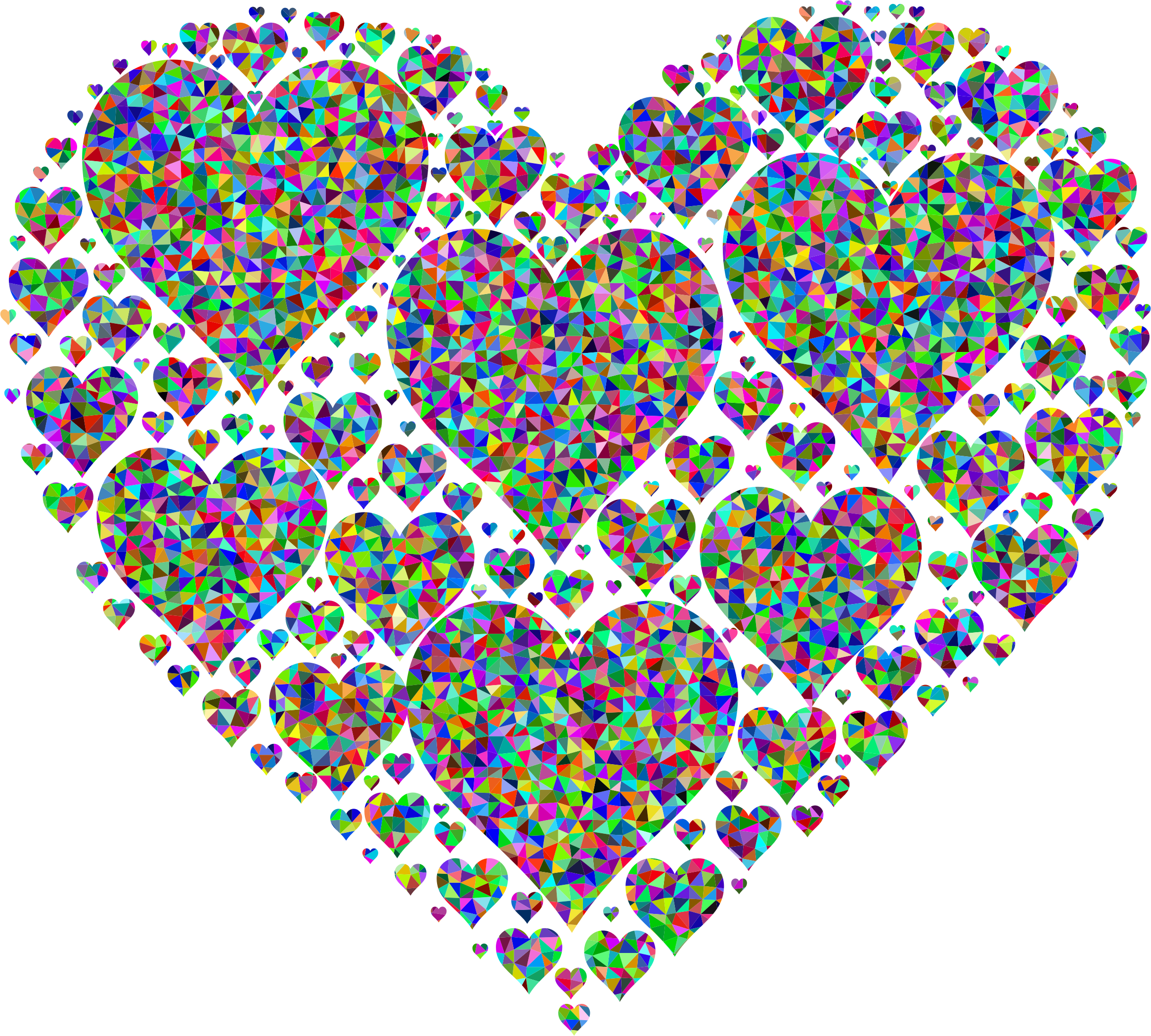 Food clipart heart. Prismatic low poly hearts