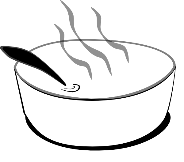 Soup clipart spoon. Black and white panda
