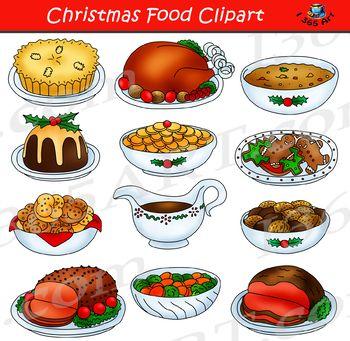 Holidays clipart holiday meal. Christmas food graphics on