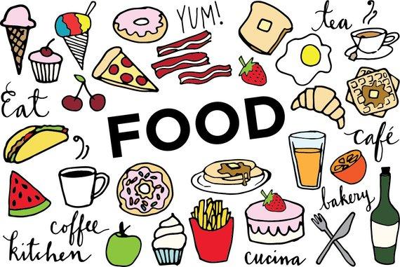 Foods clipart. Food clip art hand