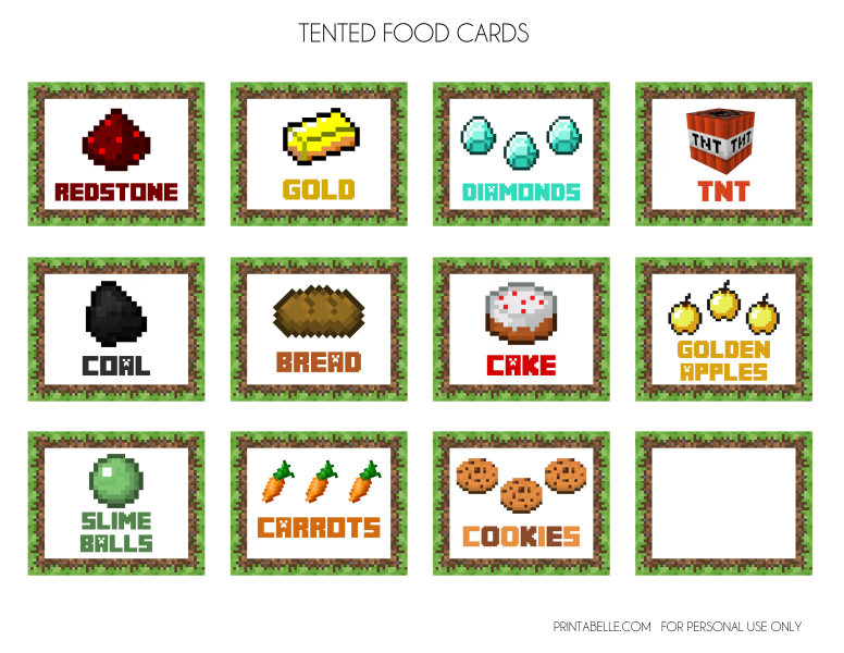 Foods clipart banner. Free minecraft printables images