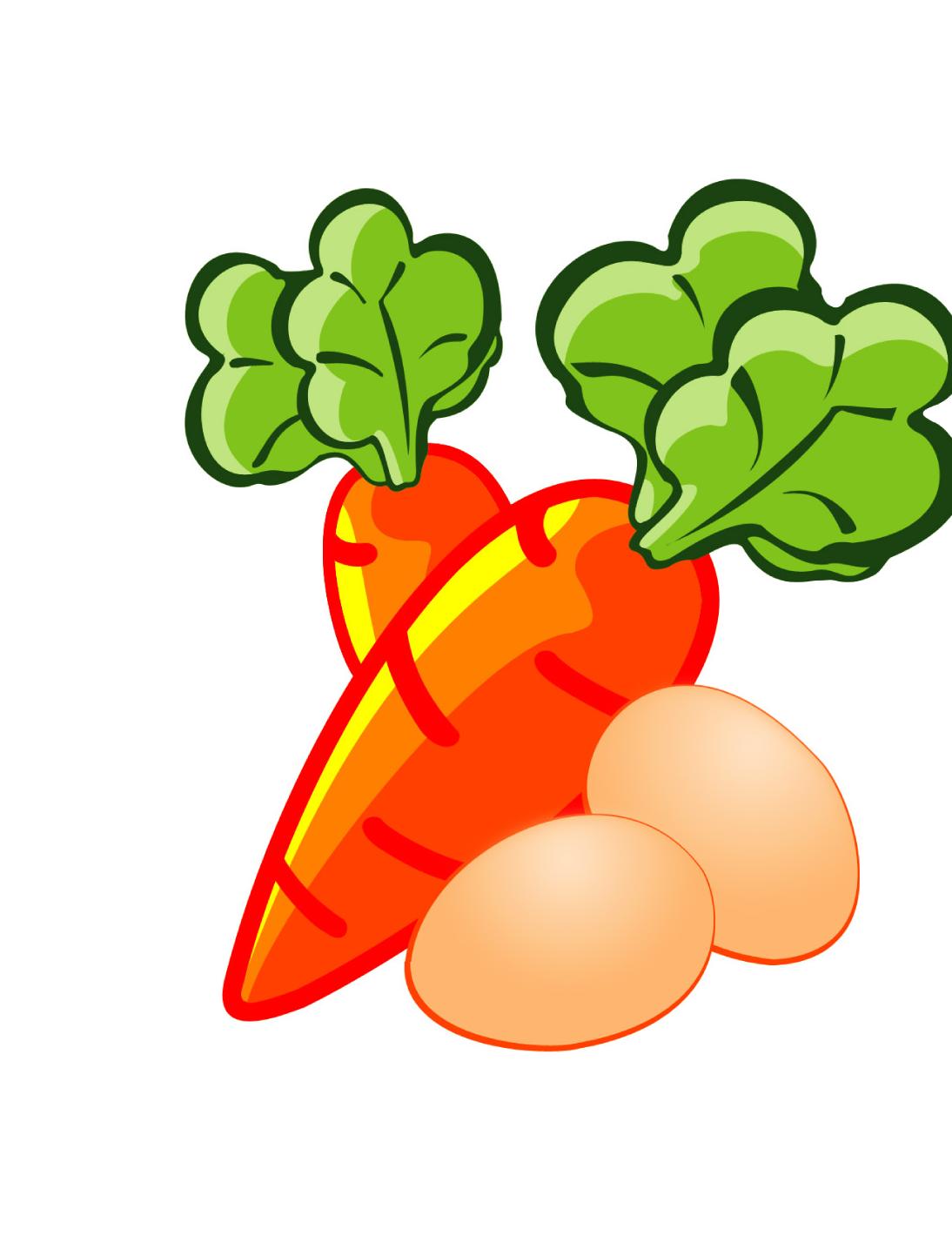 Chicken egg food illustration. Foods clipart carrot