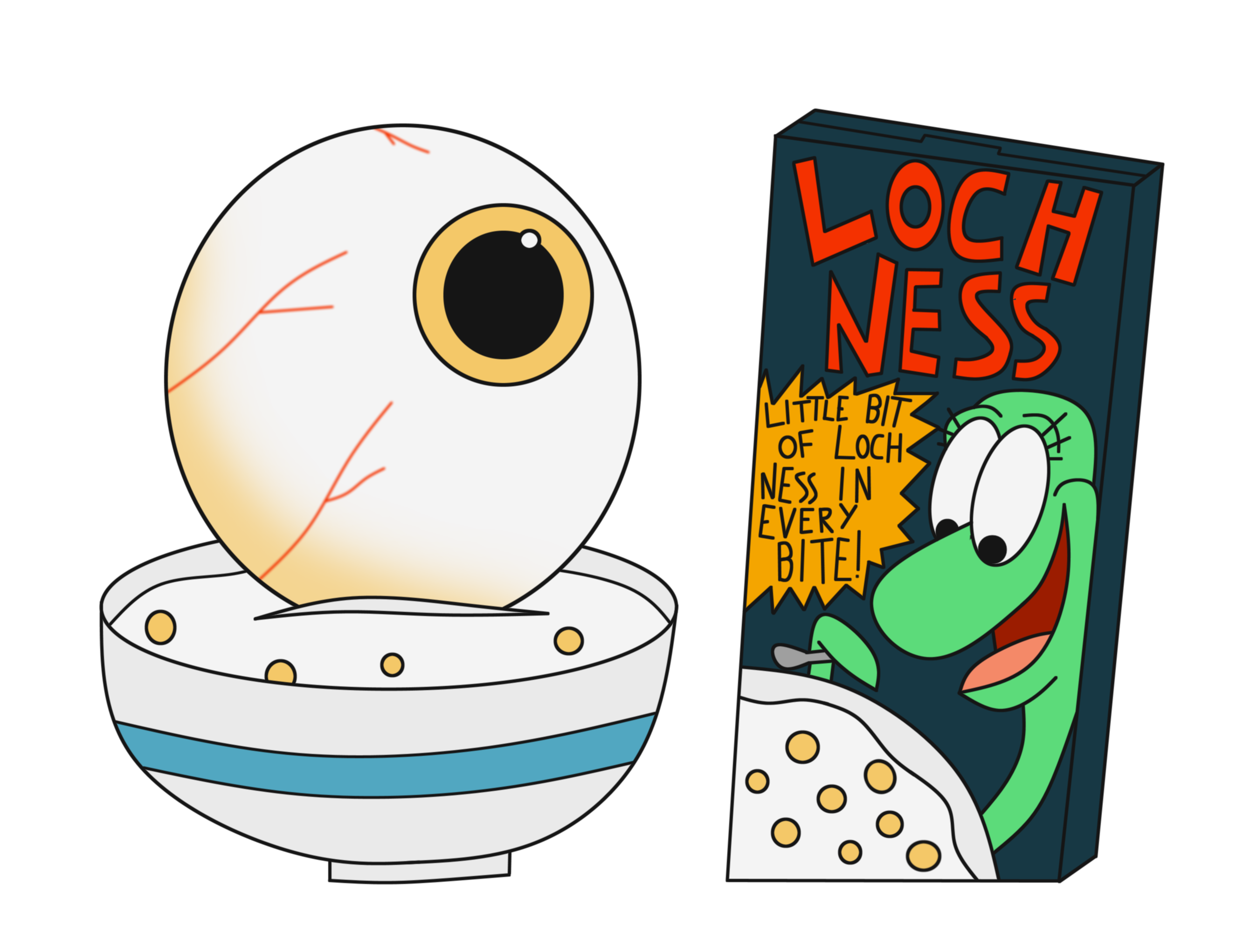 Loch ness the weird. Foods clipart cereal