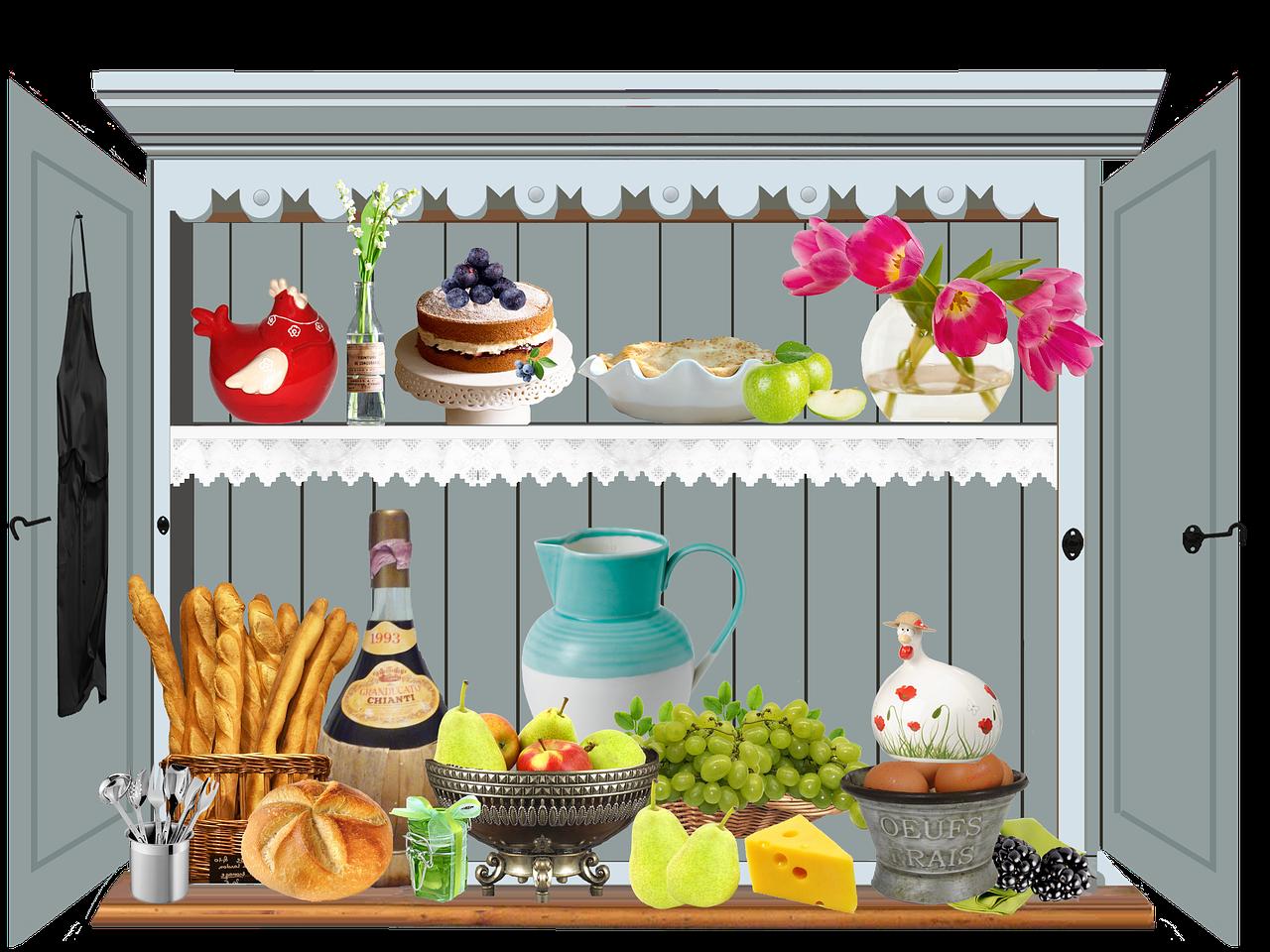 Cabinet kitchen bread chianti. Foods clipart cupboard