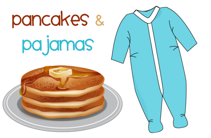 Purim clipart meal. Pjs and pancakes south