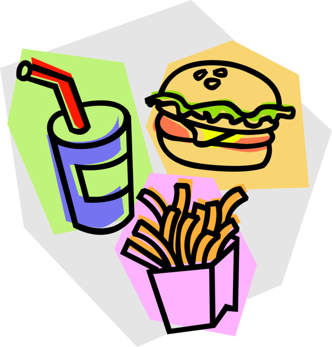 Hamburger with and fries. Foods clipart soda