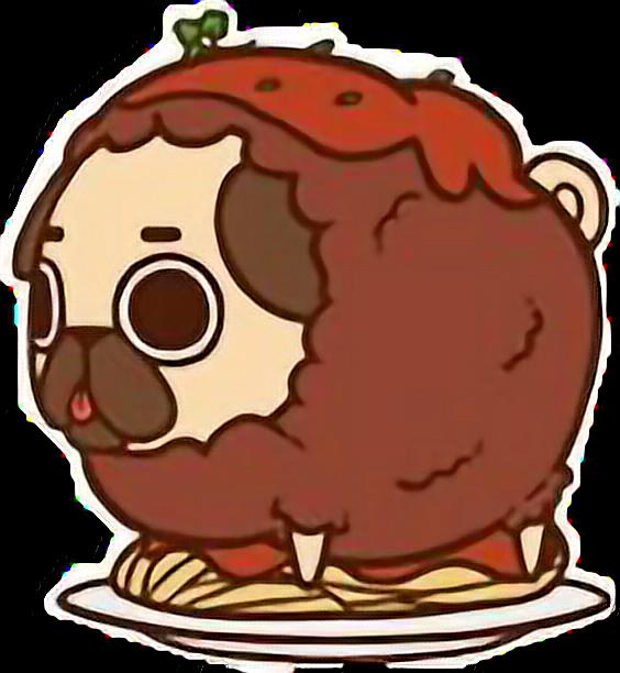 Cute kawaii pug chibi. Foods clipart spaghetti