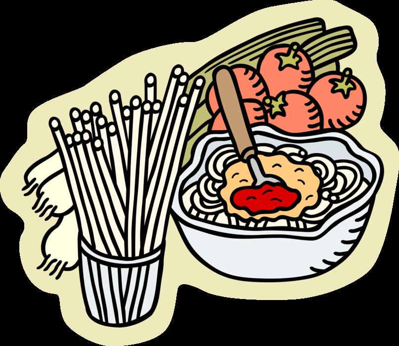 Italian pasta preparation vector. Foods clipart spaghetti