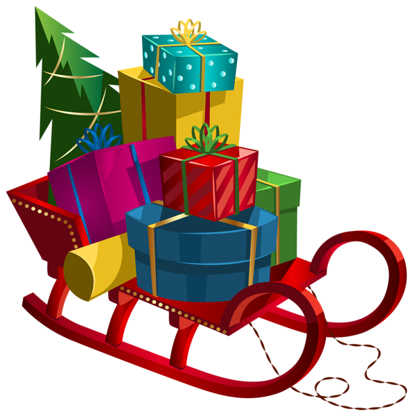 Foods clipart winter. Christmas sleigh with gifts