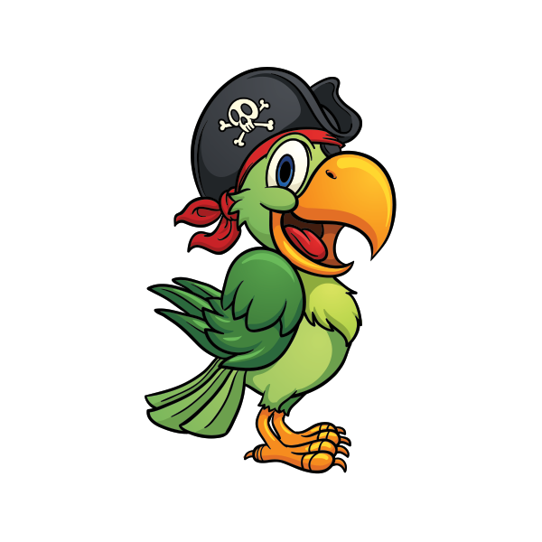 Printed vinyl pirate stickers. Parrot clipart foot