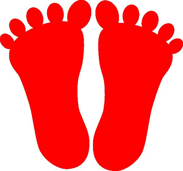 Red footprints clip art. Footprint clipart family