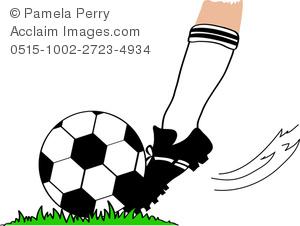 Clip Art Illustration of a Foot Kicking a Soccer Ball