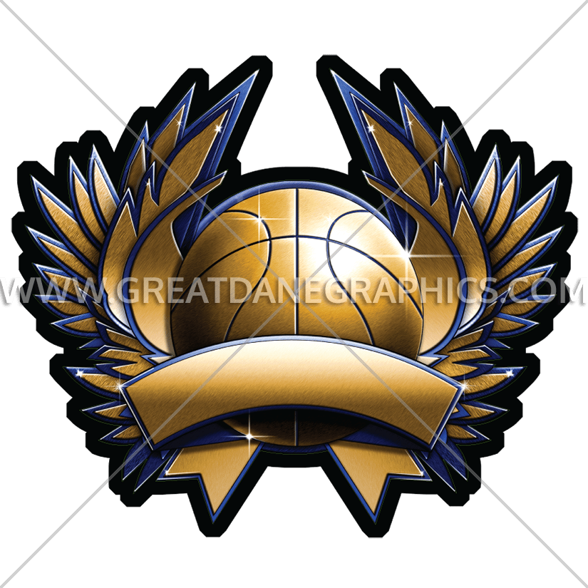 Basketball metal crest production. Football clipart badge