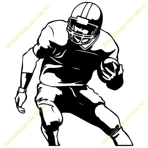 Player running silhouette panda. Football clipart runner