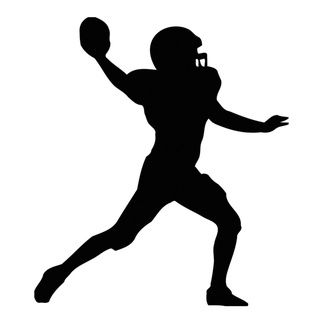 American player silhouette black. Football clipart shadow