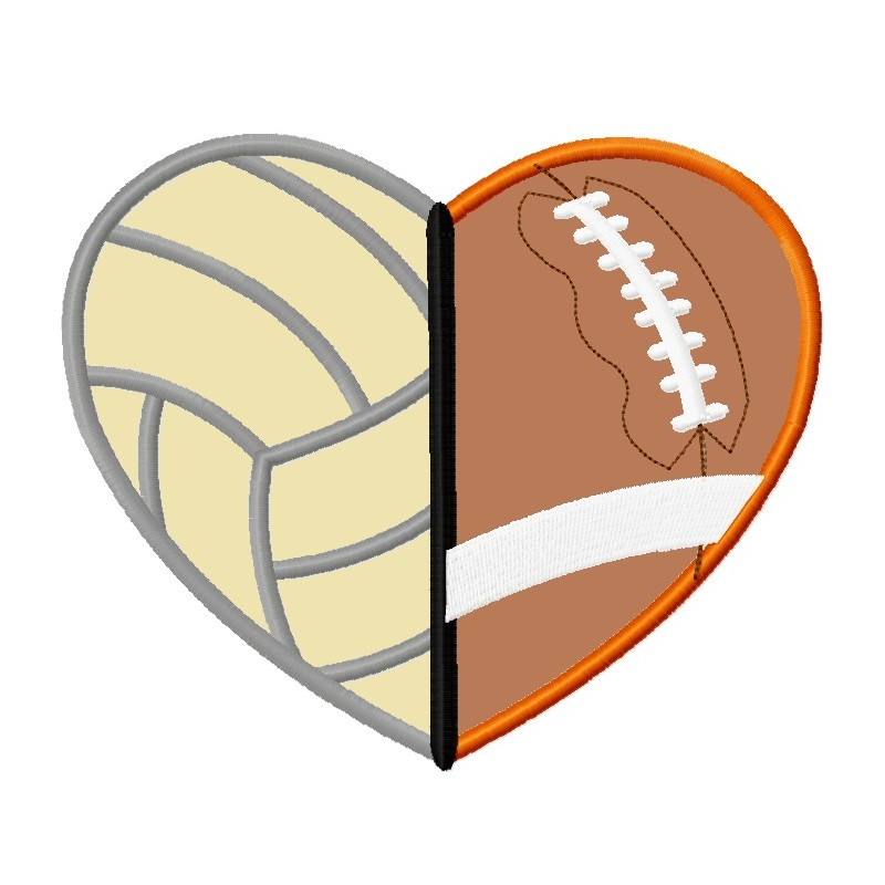 Heart lunastitches com . Football clipart volleyball