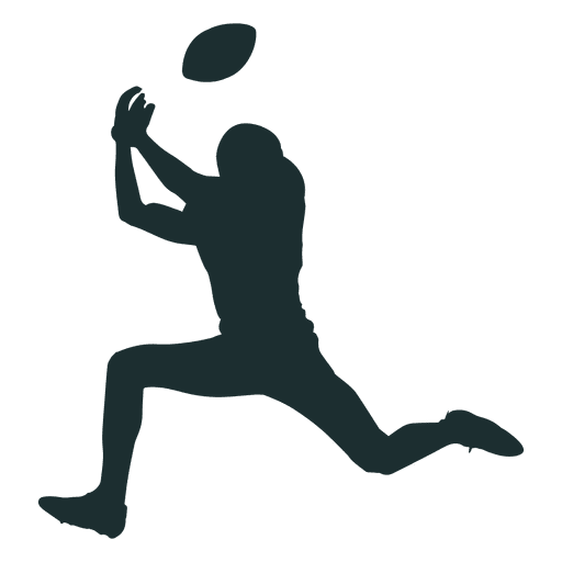 American player catching silhouette. Football vector png
