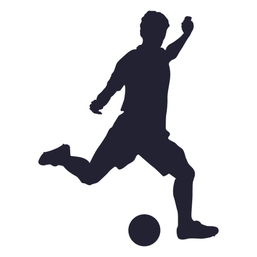 Player kicking silhouette transparent. Football vector png