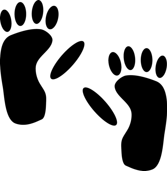 Hippo clipart footprints. Monkey tracks rubber stamp