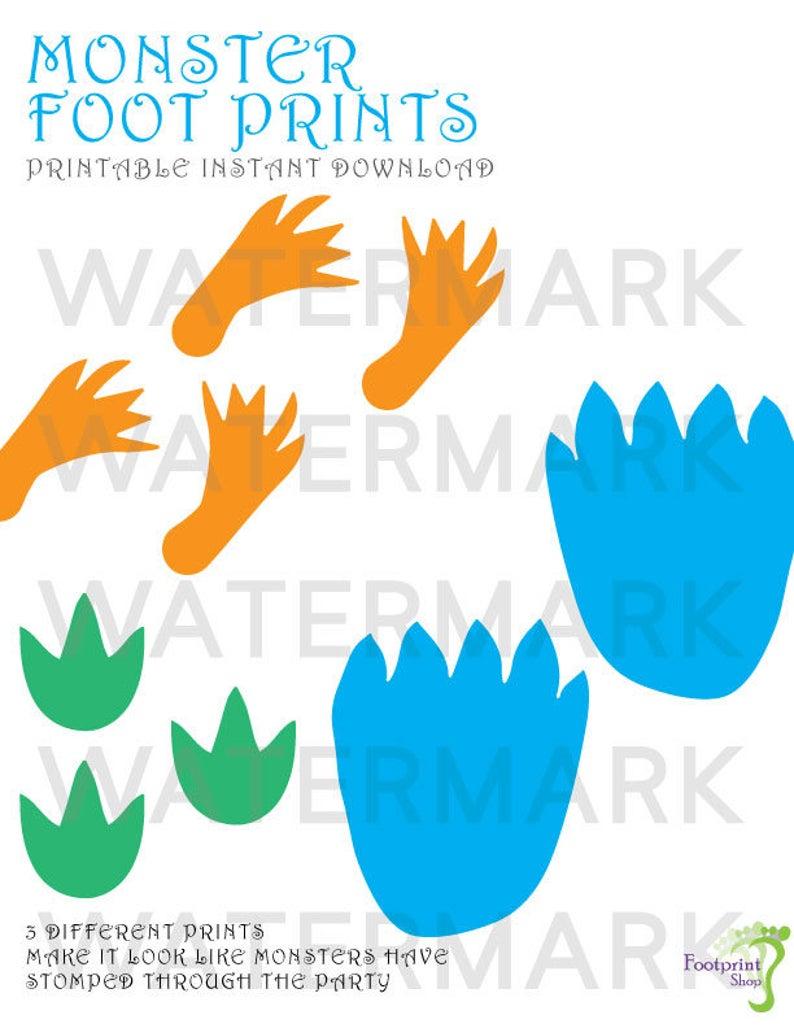 Printable footprints instant download. Footprint clipart monster