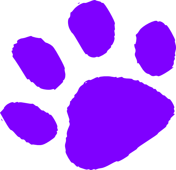 Paw print clip art. Footprint clipart purple