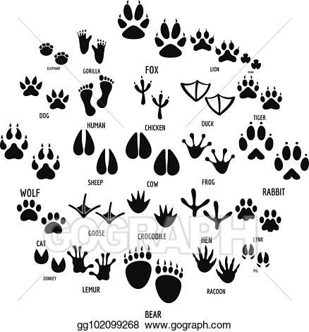 Footprint clipart simple. Vector stock animal icons