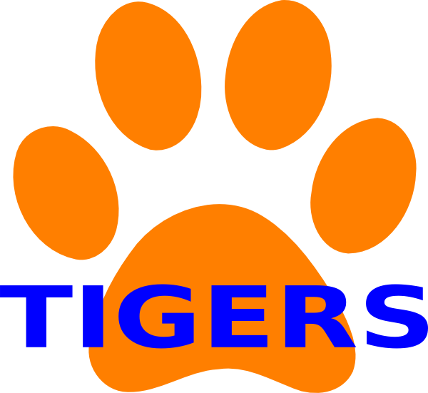 Pawprint clipart royalty free. Orange paw print tigers