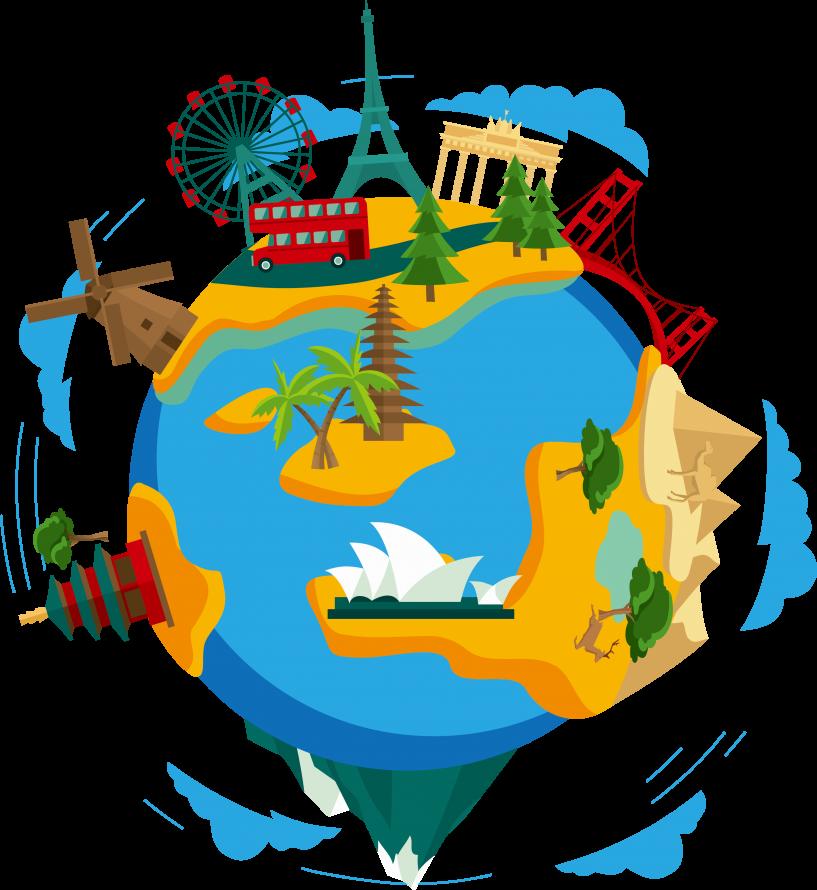 World images clip art. Footprint clipart travel