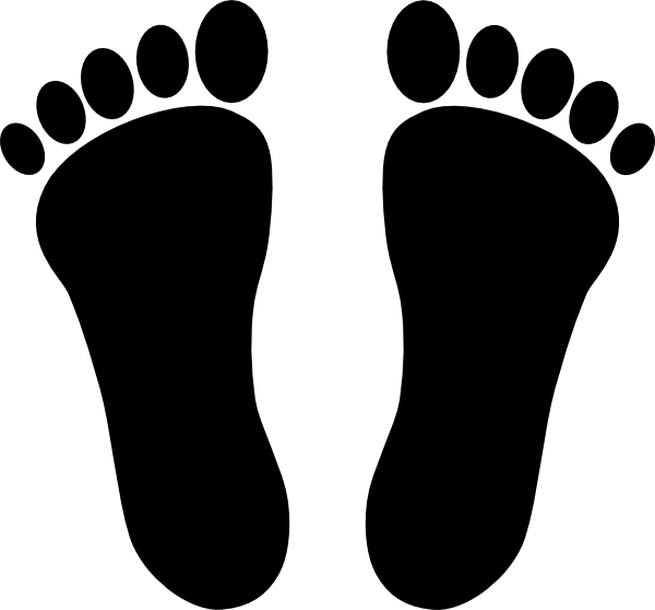 Footprints clipart. Two black clip art