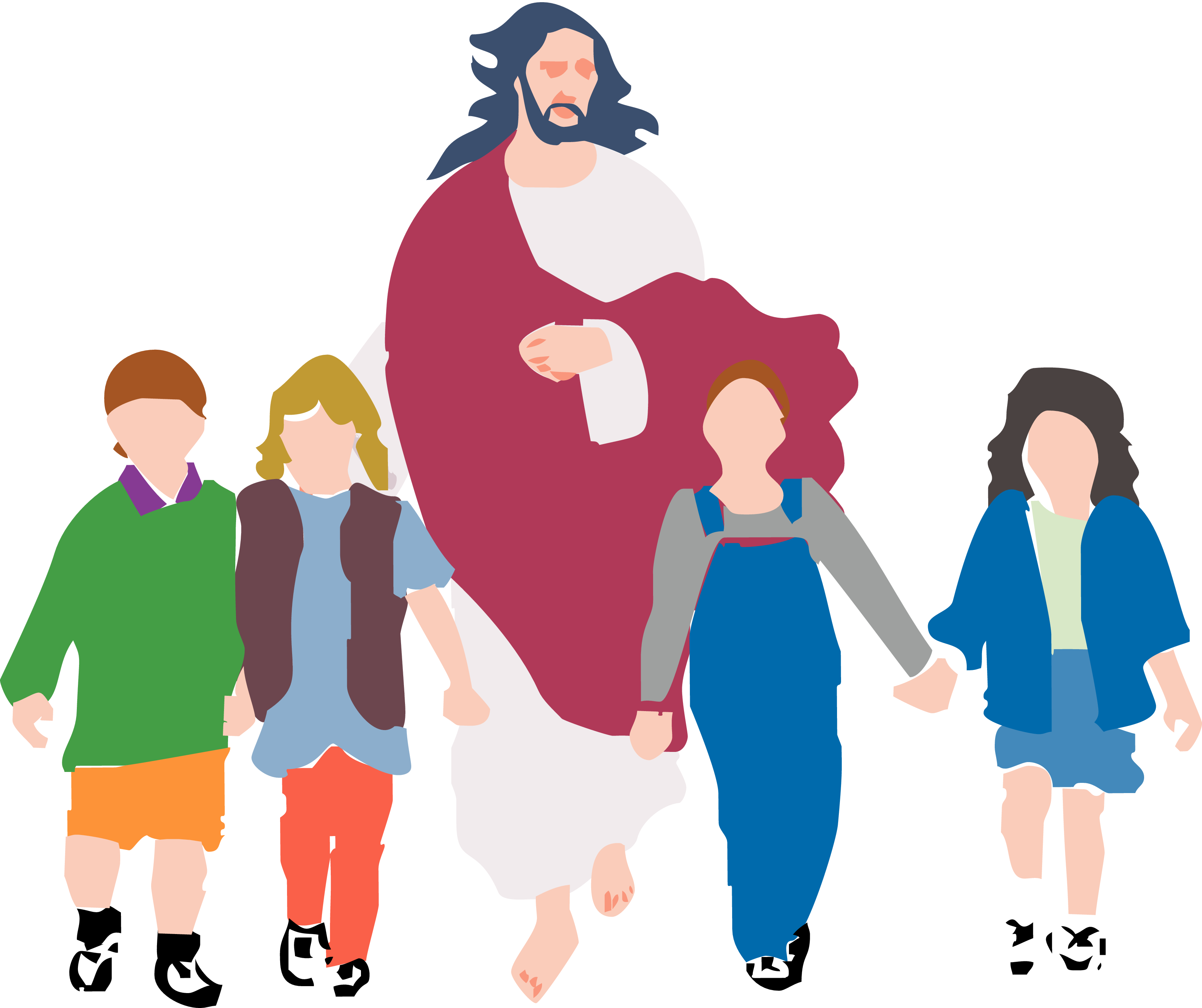 Child walking with jesus. Footsteps clipart animated